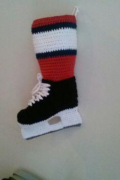 Finland hockey team HIFK Ice hockey skate christmas stocking Christmas Projects, Kids Christmas, Crochet Christmas, Christmas 2019, Crochet Shark, Knit Crochet, Knitting Patterns, Crochet Patterns, Crochet Ideas
