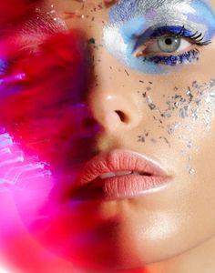 Agnieszka Golebiewska by Alexander Salski for L'Officiel Ukraine June 2016 blue and silver makeup