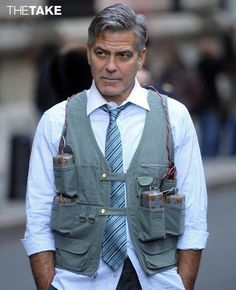 George Clooney is so stylish he can even pull off a bomb vest look…