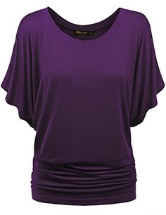 BMS Womens Short Sleeve Boat Neck Solid Shirring Dolman Drape Top Tee Shirt PURPLE L * Check this awesome image @