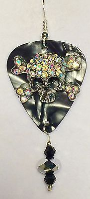 Sterling Silver Black Marble Guitar Pick With A Skull Beaded Earrings | Jewelry & Watches, Handcrafted, Artisan Jewelry, Earrings | eBay!