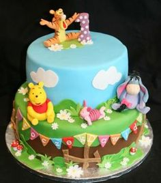 Winnie The Pooh birthday cake. More in my website Winnie The Pooh cake Winnie The Pooh cake Cakes. Winnie Pooh Torte, Winnie The Pooh Birthday, 1st Bday Cake, Baby Birthday Cakes, Birthday Ideas, Cupcakes, Cupcake Cakes, Bolo Cake, Friends Cake