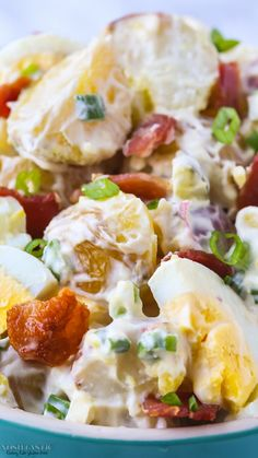 This is the best potato salad with bacon and egg recipe ever! it's loaded with yummy bacon, egg and pickle, so, so good! gluten free, paleo and Baby Potato Salad, Potato Salad Dill, Potato Salad Mustard, Potato Salad Dressing, Potato Salad Recipe Easy, Potato Salad With Egg, Egg Salad, Best Ever Potato Salad, Easy Bacon Recipes