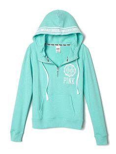 Victoria Secret PINK - Perfect Half-Zip Hoodie Turquoise or Maroon. XS $50