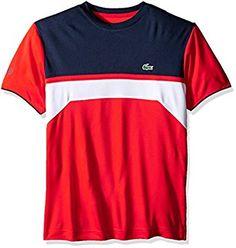 30763fc1c Amazon.com  Lacoste Men s Tennis Short Sleeve Ultradry Chest Stripe T-Shirt   Clothing. Lacoste Men