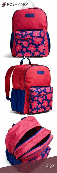 "Vera Bradley Backpack New DESCRIPTION Lightweight is the order of the day with this spacious backpack. The back is padded and there are plenty of pockets for pens, files and papers. It's also water-repellent, so if you spill your coffee, clean up is easy.   32"" adjustable, padded straps Lightweight, water-repellent polyester Two large compartments and a smaller accessories compartment Large main compartment contains an interior zip pocket and exterior pockets perfect for water bottles  Price…"