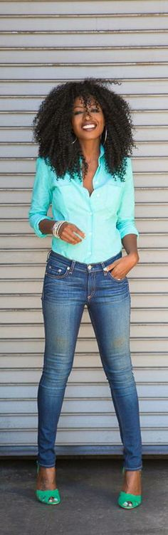 Mint Fitted Oxford Shirt + Faded Skinnies -   Style Pantry