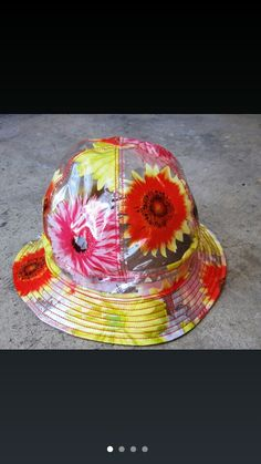 ROJAS Sunflower Rain Hat On etsy half off....code... rainhat Rainy day ready