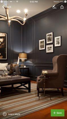 Modern home design Living Room Designs, Living Room Decor, Living Spaces, Dining Room, Dark Interiors, Office Interiors, Zigarren Lounges, Masculine Interior, Masculine Room