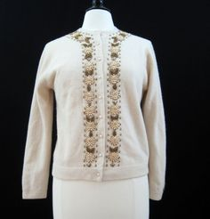 60s Cardigan Vintage Beaded  Copper Gold Sweater M