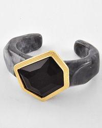 Gold Tone / Black & Grey Acrylic / Cuff Bracelet - GORGEOUS!