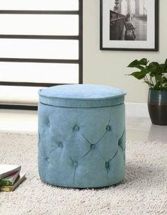 Tufted Fabric Blue Round Storage Ottoman Turquoise Vanity stool