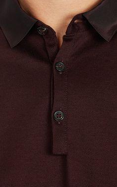 Lanvin Grosgrain-Collar Polo at Barneys.com
