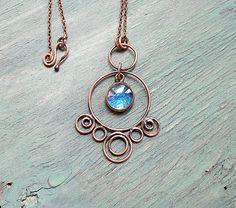 Large Copper Blue Glass Pendant Boho Rustic Earthy Pendant