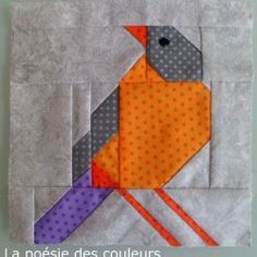 Block 84 – The Early Bird – The Splendid Sampler™ - Block 84 – The Early Bird – The Splendid Sampler™ Block 84 – The Early Bird – The Splendid Sampler™ Quilt Square Patterns, Paper Piecing Patterns, Square Quilt, Quilting Projects, Quilting Designs, Vogel Quilt, Bird Quilt Blocks, Flower Quilts, Mini Quilts