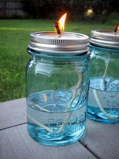 """DIY oil lamps using a vintage Ball pint jar and 1/8"""" cotton wicks (8""""long). Small bird writes that these wicks burnt REALLY quickly. I wonder if the liquid is parrafin or.....kerosene or.....hm."""