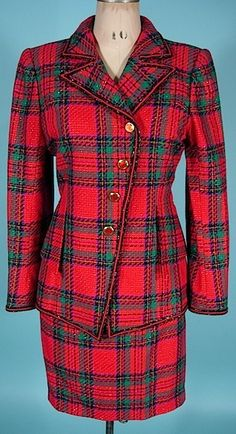 early 1990's UNGARO PARALLELE, Paris Red and Green Plaid Suit with Asymmetrical Button Closure and Metallic Thread Accent