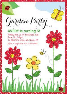 Flower Garden Party Invitation, Custom Printable Garden Theme Invitation, Outdoor Party
