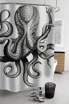 10 Ways to Achieve a Simple Apartment Decor for Your Rental Octopus shower curtain [Bathroom Ideas,
