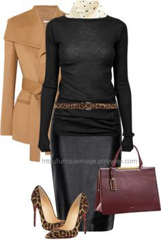 Classy Black And Leopard Work Outfit