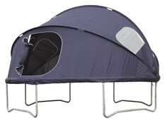 trampoline and bed / tent. This is SO cool! We use to just sleep on the trampoline with pillows and blankets!