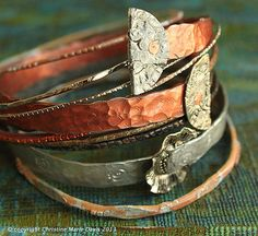 orange, silver and bronze smashed KNITTING needle bangle STACK bracelets. : orange, silver and bronze smashed KNITTING needle bangle STACK bracelets…. Metal Bracelets, Stack Bracelets, Bangles, Bohemian Gypsy, Gypsy Style, Boho Look, Vintage Knitting, Knitting Needles, Bracelet Making