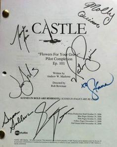 Autographed copy of the pilot episode script. ** I Love Castle. Castle Tv Series, Castle Tv Shows, Castle Abc, Best Tv Shows, Favorite Tv Shows, Detective, Beckett Quotes, Get On The Floor, Richard Castle