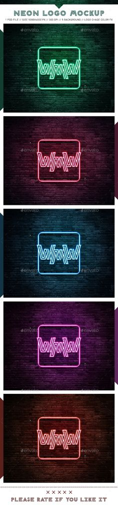 Neon Logo Mockups - #Logo #Product #Mock-Ups Download here: https://graphicriver.net/item/neon-logo-mockups/19705954?ref=alena994