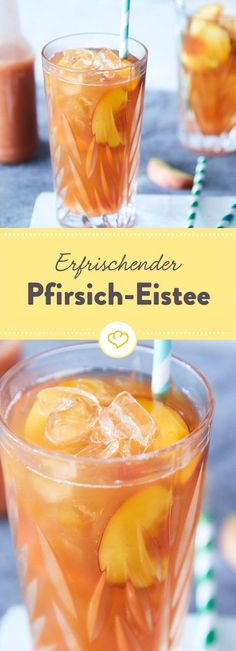 Pfirsich Eistee: die fruchtige Erfrischung selber machen Everyone knows it, everyone loves it: peach iced tea is a real cult drink. Here you can find out how you can easily make the refreshing iced tea yourself. Drinks Alcohol Recipes, Non Alcoholic Drinks, Tea Recipes, Smoothie Recipes, Smoothies, Drink Recipes, Summer Recipes, Peach Ice Tea, How To Make Drinks