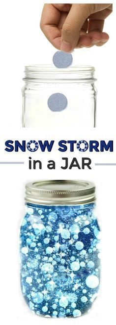 FUN SCIENCE: Make a snow storm in a jar. How cool! (Winter science for kids) #winter #scienceforkids #kidexperiment