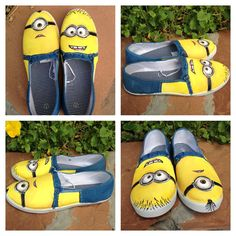 Hand painted shoes Minions from the movie by TheSneakFreak Painted Canvas Shoes, Hand Painted Shoes, Minion Shoes, Minion Halloween, Shoe Makeover, Decorated Shoes, Michael Kors Outlet, Nike Free Shoes, Shoe Art