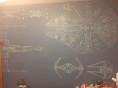 My friend's son loves Star Wars, so he drew this on his wall.