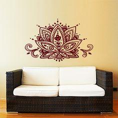 Lotus flor pared etiqueta Yoga Studio vinilo Sticker Decals