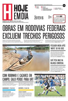 Capa do dia 28/02/2016 #HojeEmDia #Jornal #Notícias #News #Newspaper