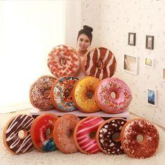 Macaron Food Cushion Cute Donuts Pillow Chocolate Donuts Plush Nice Bottom Cushion Nap Pillow Doughnut Coussin  E2S