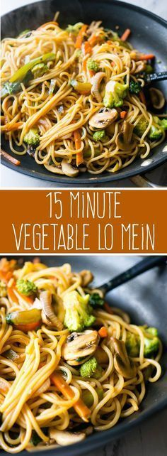 15 Minute Vegetable Lo Mein. Meatless, full of your favorite veggies, and delicious enough to be take-out, you'll love this super quick and easy weeknight dinner! #thaifoodrecipes