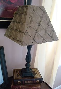 Fabric covered lampshade fixed with a hot glue gun