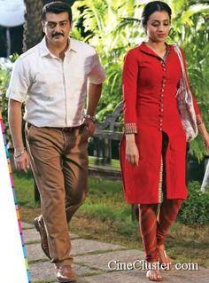 Ajith in 55th Movie Latest Stills. Ajith Kumar and Trisha Krishnan starring stills of Untitled Gautham Menon-Ajith Kumar movie stills.