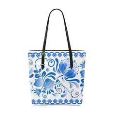Beautiful Blue Russian Vintage Floral Pattern Euramerican Tote Bag/Small (Model 1655)