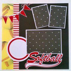 Softball Sports Girls premade scrapbook layout by ohioscrapper, $15.00