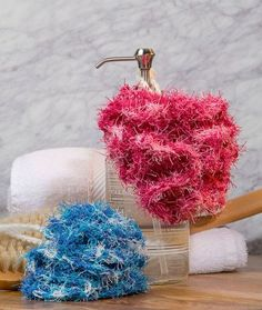 Scrubby Bath Poufs Free Crochet Pattern in Red Heart Scrubby Yarn