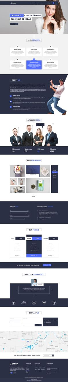 EMMA is fresh subtle PSD template design with super unique hovering effect. One page & multipages options are available to serve your own taste. #psdtheme Download Now!