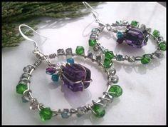 Wrapped Gift Swarovski Crystal Hoop Earring Handmade Green Purple Blue | specialtivity - Jewelry on ArtFire