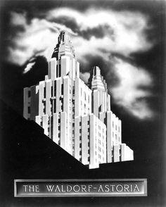 Waldorf=Astoria Art Deco Poster · Host to the World