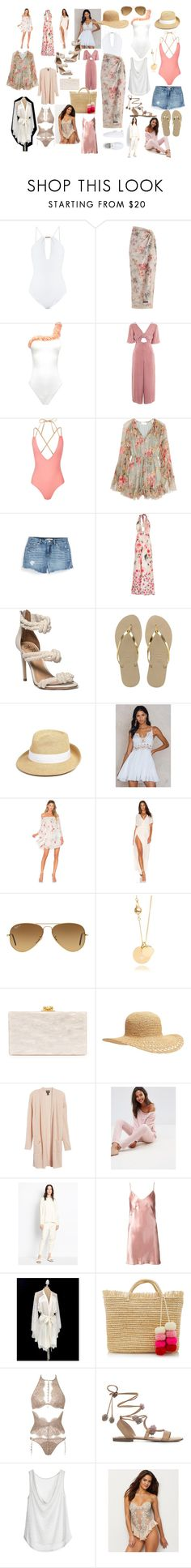 """Lux Beach Destination Honeymoon"" by jastyleyou on Polyvore featuring Melissa Odabash, Zimmermann, Topshop, Levi's, VDP, Havaianas, Eric Javits, Free People, The Jetset Diaries and Ray-Ban"