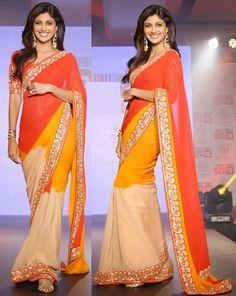Shilpa Shetty In Orange,Mustard & Cream Saree