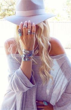 Bohemian done right - pastel hues, oversized sweaters and chunky rings