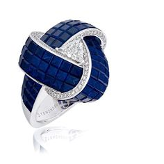Sapphire Knot Ring with Diamond Trillion Solitaire