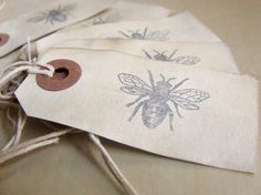 LOVE these gift tags, bee -- set of eight on old manilla shipping tags, by Wicked Pen. Etsy. #tags Old shipping tags lying around?