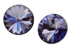 Jubiexpress_us-RIVOLI 8 GENUINE SWAROVSKI CRYSTAL STUD EARRINGS SILVER + GOLD PLATE 24 K ~color-Tanzanite-$6.50